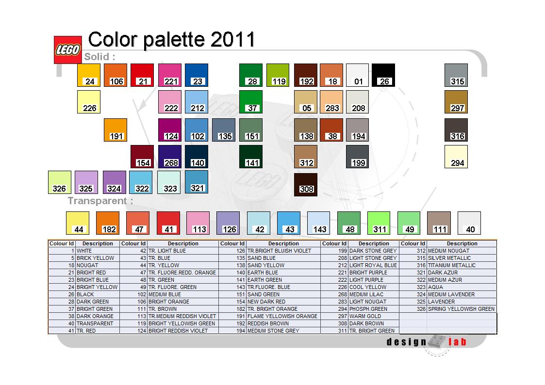 LEGO 2011 internal colour palette