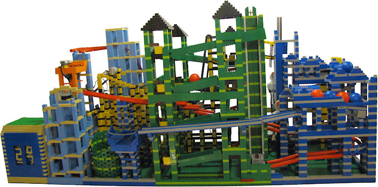 This LEGO ball machine was constructed using 10 motors and thousands ...